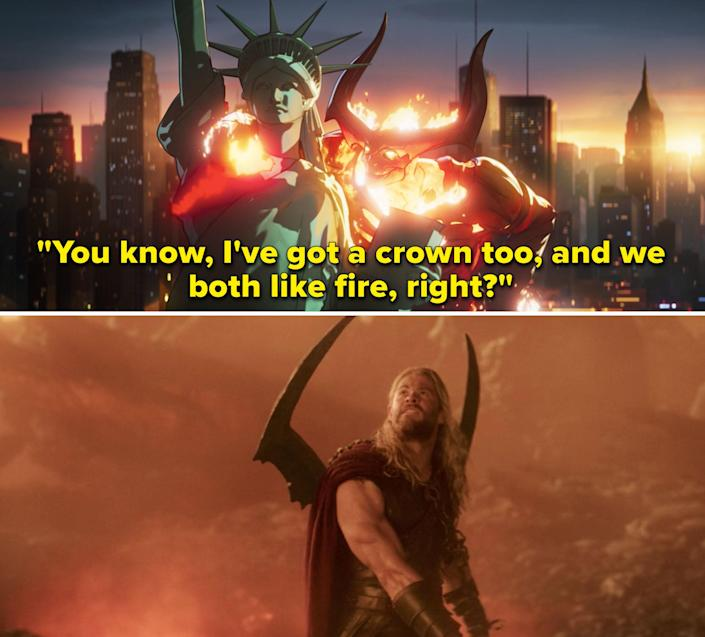 """Surtur saying, """"You know, I've got a crown too, and we both like fire, right?"""""""