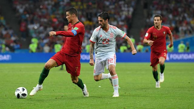 Cristiano Ronaldo's hat-trick may have saved a point for Portugal, but Isco joked he will no longer speak to him because of it.