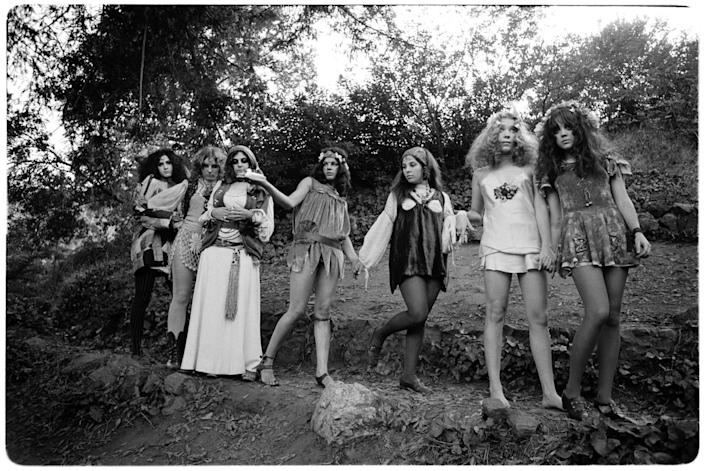 """The GTOs (Girls Together Outrageously), from left, Miss Christine, Miss Cynderella, Miss Mercy, Miss Lucy, Miss Sandra, Miss Pamela and Miss Sparkie, in Topanga in 1970. <span class=""""copyright"""">(Ed Caraeff/Morgan Media/Getty Images)</span>"""