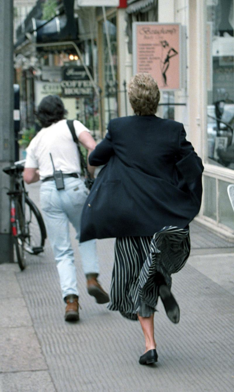 Princess Diana appearing to run after a member of the paparazzi who was bothering her (Photo: Rex Features )