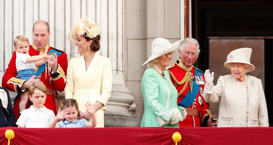 Prince William, Duke of Cambridge, Catherine, Duchess of Cambridge, Prince Louis of Cambridge, Prince George of Cambridge, Princess Charlotte of Cambridge, Camilla, Duchess of Cornwall, Prince Charles, Prince of Wales and Queen Elizabeth II watch a flypast from the balcony of Buckingham Palace during Trooping The Colour, the Queen's annual birthday parade, on June 8, 2019 in London, England. The annual ceremony involving over 1400 guardsmen and cavalry, is believed to have first been performed during the reign of King Charles II. The parade marks the official birthday of the Sovereign, although the Queen's actual birthday is on April 21st.