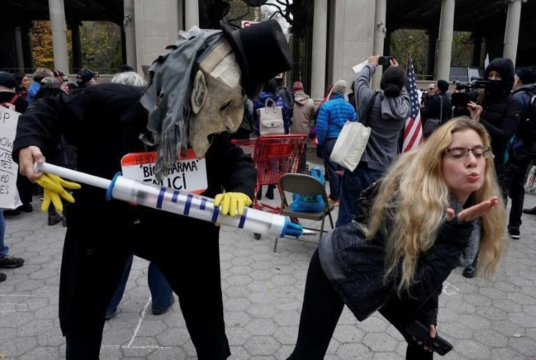 Anti-lockdown protesters in New York, where officials warned a surge in coronavirus cases may lead to new restrictions being imposed