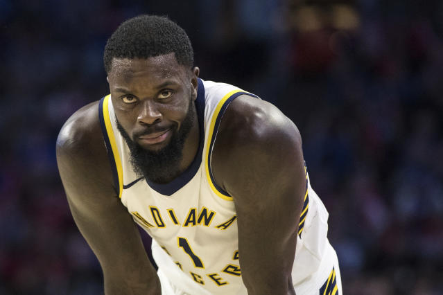 "<a class=""link rapid-noclick-resp"" href=""/nba/players/4771/"" data-ylk=""slk:Lance Stephenson"">Lance Stephenson</a> is just here to have fun. (AP Photo/Chris Szagola)"
