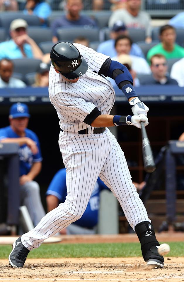 NEW YORK, NY - JULY 11: Derek Jeter #2 of the New York Yankees gets a hit in the third inning against the Kansas City Royals on July11,2013 at Yankee Stadium in the Bronx borough of New York City. (Photo by Elsa/Getty Images)