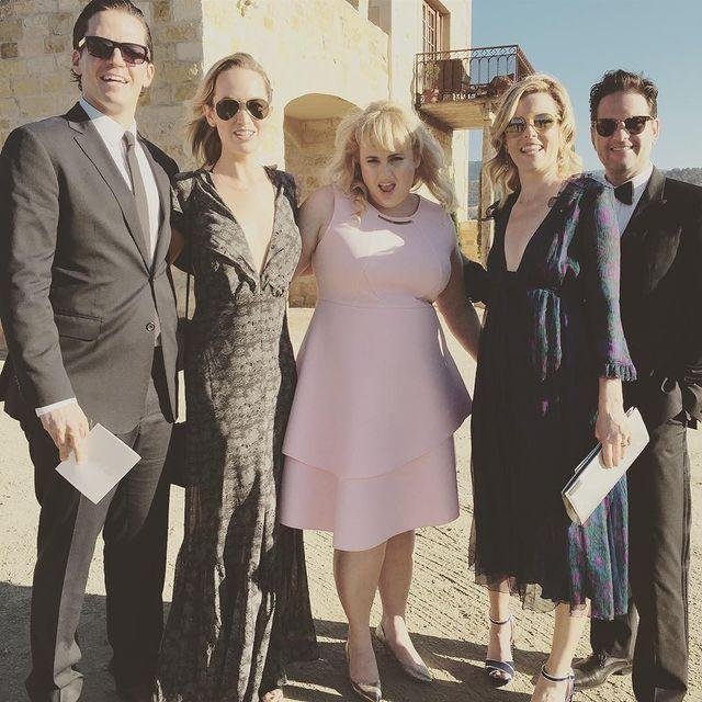 """<p>Rebel represented at the wedding of her two Pitch Perfect co-stars Anna Camp and Skylar Astin in a perfect pink skater-style dress.</p><p><a href=""""https://www.instagram.com/p/BKNQ-Gkgo5y/"""" rel=""""nofollow noopener"""" target=""""_blank"""" data-ylk=""""slk:See the original post on Instagram"""" class=""""link rapid-noclick-resp"""">See the original post on Instagram</a></p>"""