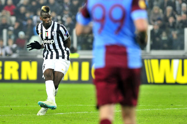 Juventus midfielder Paul Pogba, of France, scores a goal during the Europa League, round of 16th, soccer match between Juventus and Trabzonspor at the Juventus stadium, in Turin, Italy, Thursday, Feb. 20, 2014. (AP Photo/Massimo Pinca)