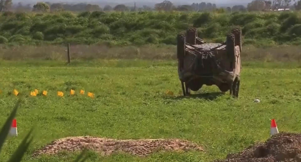 A screenshot of vision from the scene after the buggy rolled in a Rosedale paddock. Source: 9News