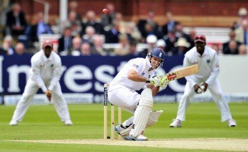 England captain Andrew Strauss avoids a bouncer from West Indies' Shannon Gabriel on the second day of the first Test at Lord's cricket ground in London. Strauss ended his 18-month wait for a Test century as he led his side into a first innings lead on the second day against the West Indies at Lord's