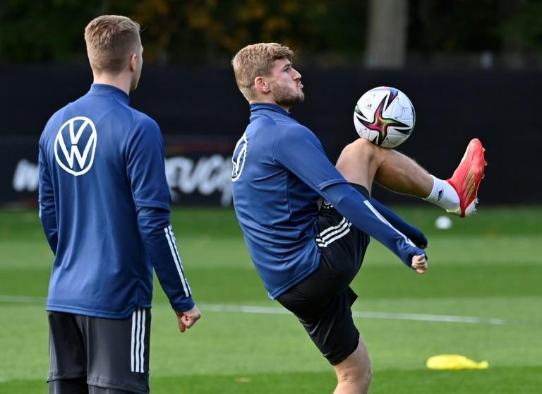 Timo Werner controls the ball during a Germany training session in Hamburg on Wednesday (AFP/John MACDOUGALL)