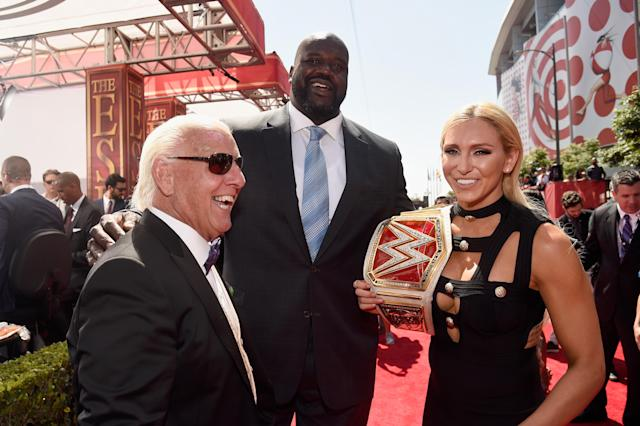 <p>(L-R) WWE wrestler Ric Flair, former NBA player Shaquille O'Neal and WWE Diva Charlotte attend the 2016 ESPYS at Microsoft Theater on July 13, 2016 in Los Angeles, California. (Photo by Kevin Mazur/Getty Images) </p>