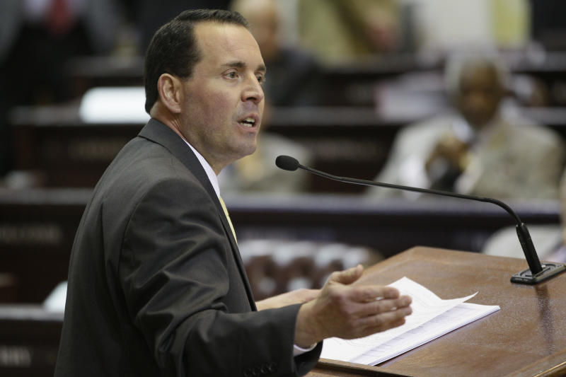 Rep. Andy Mayberry, R-Hensley, presents his bill at the Arkansas state Capitol in Little Rock, Ark., Monday, Feb. 4, 2013. The bill that would ban abortions at 20 weeks of pregnancy passed a vote in the House Monday. (AP Photo/Danny Johnston)
