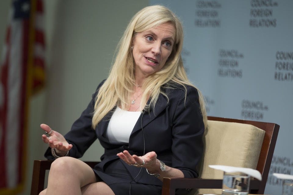 Federal Reserve board member Lael Brainard speaks to the Council on Foreign Relations in Washington, Friday, June 3, 2016. Brainard signaled that the Fed should be in no hurry to act, especially after a bleak U.S. jobs report was released earlier in the day. (AP Photo/Evan Vucci)