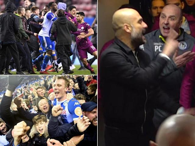 Wigan condemn violent clashes between fans after FA Cup win over Manchester City was marred by pitch invasion
