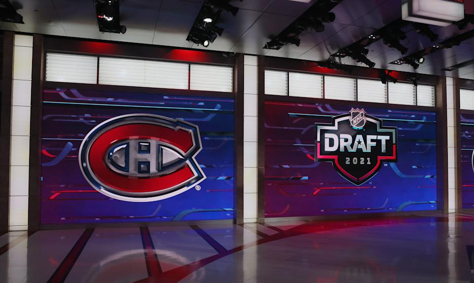 The Montreal Canadiens logo is shown at the NHL Network studios before they selected defenseman Logan Mailloux with the 31st pick in the draft.