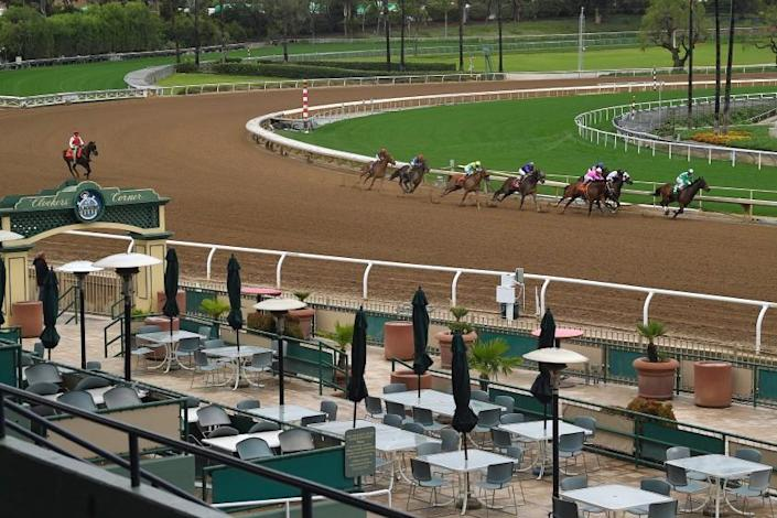 Horses run in the second race at Santa Anita Park to empty stands Saturday, March 14, 2020, in Arcadia, Calif. While most of the sports world is idled by the coronavirus pandemic, horse racing runs on. (AP Photo/Mark J. Terrill)