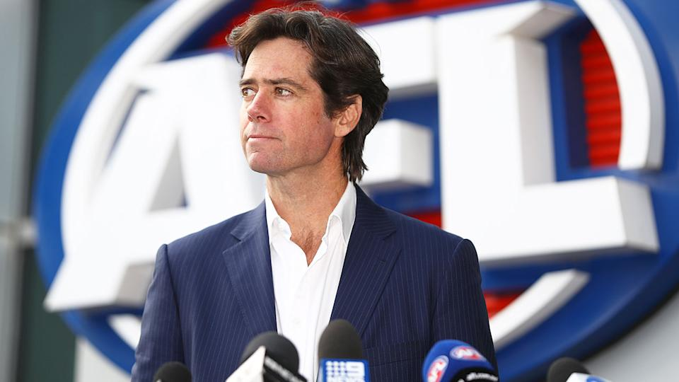 Pictured here, AFL CEO Gillon McLachlan addresses media.