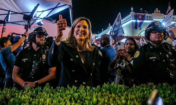 Republican U.S. Rep. Maria Elvira Salazar, of Miami, greets Cuban Americans at a rally while attending a GOP town hall on Cuba broadcast live from Versailles Restaurant hosted by Fox News host Sean Hannity.