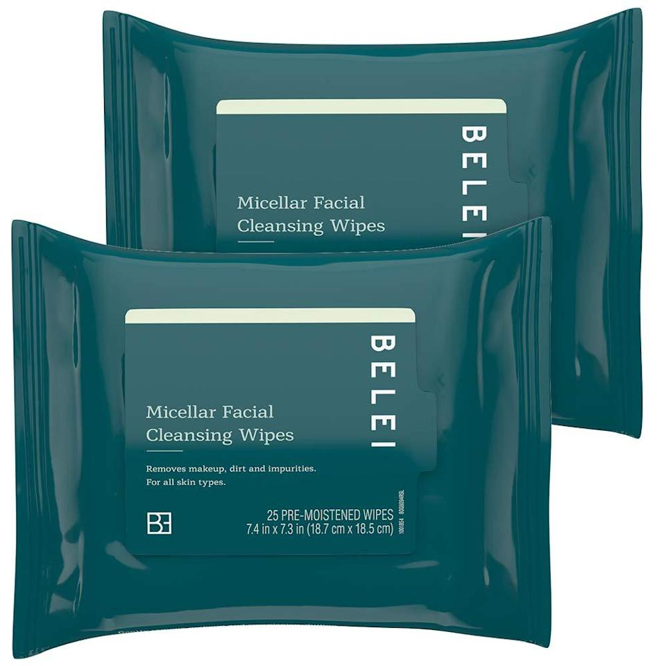 """<h2>25% Off Oil-Free Micellar Facial Cleansing Wipes (Pack of 2)</h2><br>""""I wouldn't say these are exact dupes of my formerly preferred pricier brand of facial cleansers but they do the trick so, Koh Gen Do Cleansing Spa Water wipes out, Belei by Amazon (yep, Amazon has a clean skin care house brand) in. There's not much to say about these which is why I like them. They wipe away dirt, makeup, and my skin doesnt dry out. They're very gentle. I cut them in thirds so the value here is pretty good.""""<br><br><em>— Marissa Rosenblum, Shopping Director</em><br><br><strong>Belei</strong> Oil-Free Micellar Facial Cleansing Wipes (2 Pack), $, available at <a href=""""https://amzn.to/33Uva3X"""" rel=""""nofollow noopener"""" target=""""_blank"""" data-ylk=""""slk:Amazon"""" class=""""link rapid-noclick-resp"""">Amazon</a>"""