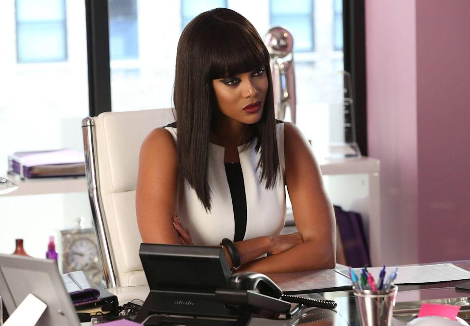 <p>Known for helping foster the careers of promising models, Tyra Banks took on a less-supportive role for her character on <em>Glee</em>, Bichette. Sam initially stops by the House of Bichette with hopes of becoming a male model, but her character is less than impressed with what Sam has to offer. </p>