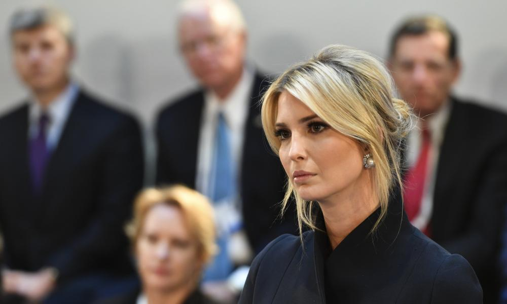 """<span class=""""element-image__caption"""">'Much of IvankaTrump's brand has been constructed around the concept of #WomenWhoWork.'</span> <span class=""""element-image__credit"""">Photograph: Kerstin Joensson/AP</span>"""