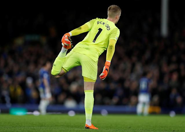 "Soccer Football - Premier League - Everton v Newcastle United - Goodison Park, Liverpool, Britain - April 23, 2018 Everton's Jordan Pickford stretches Action Images via Reuters/Lee Smith EDITORIAL USE ONLY. No use with unauthorized audio, video, data, fixture lists, club/league logos or ""live"" services. Online in-match use limited to 75 images, no video emulation. No use in betting, games or single club/league/player publications. Please contact your account representative for further details."