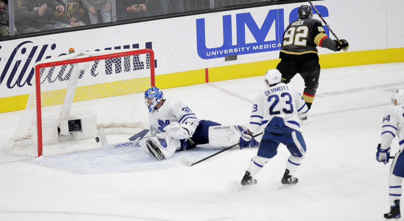 LAS VEGAS, NV - NOVEMBER 19: Vegas Golden Knights left wing Tomas Nosek (92) scores a goal against Toronto Maple Leafs goaltender Frederik Andersen (31) during a regular season game Tuesday, Nov. 19, 2019, at T-Mobile Arena in Las Vegas, Nevada. (Photo by: Marc Sanchez/Icon Sportswire via Getty Images)
