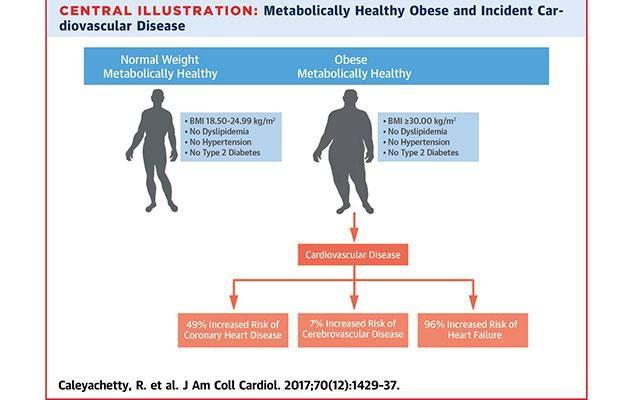 Despite being metabolically healthy, obese people were more at risk of fatal diseases. Photo: Journal of the American College of Cardiology