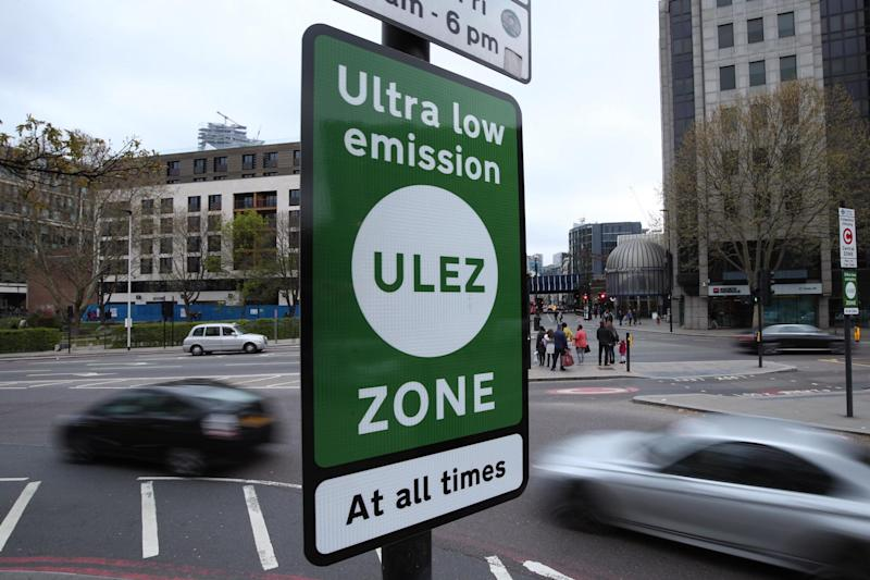 A file image of an Ultra Low Emission Zone sign in Tower Hill, central London: Yui Mok/PA