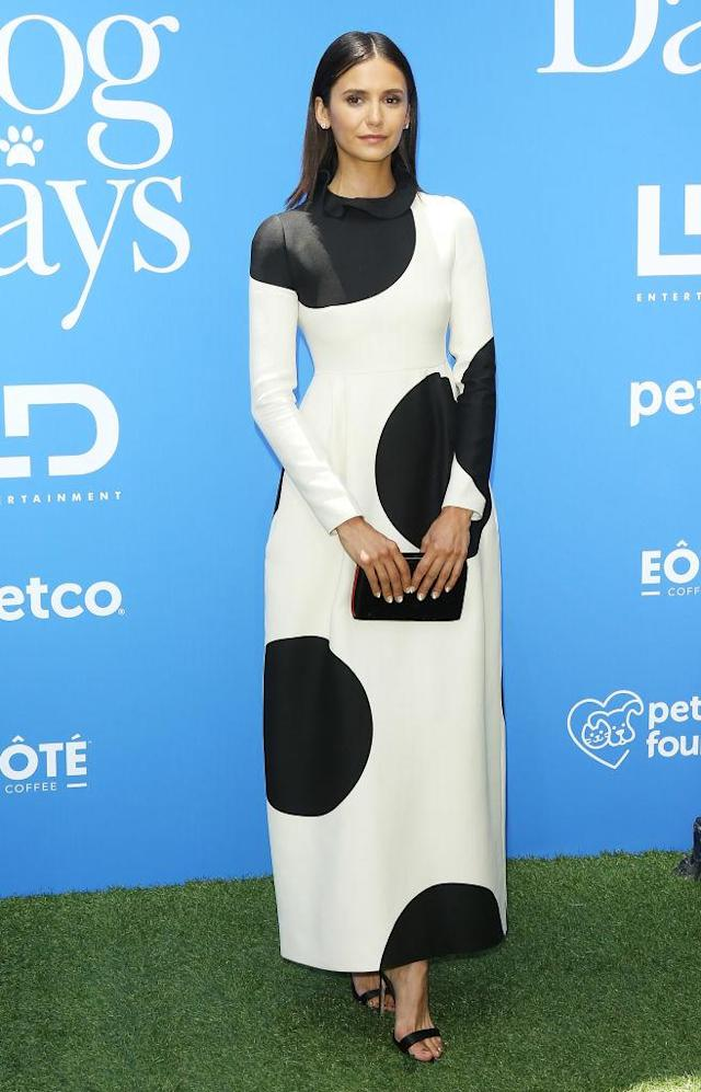 "<p>Nina Dobrev wears a polka dot Valentino gown to the Los Angeles premiere of LD Entertainment's ""Dog Days,"" held at Westfield Century City on Aug. 5, 2018, in Century City, California. (Photo: Michael Tran/FilmMagic) </p>"