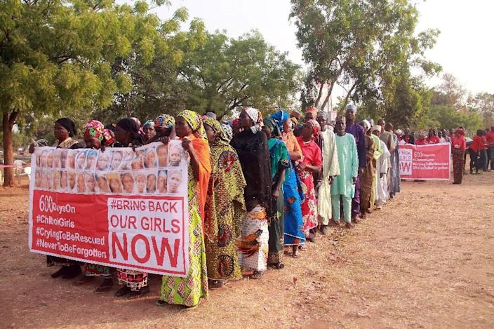 "Members of the ""Bring Back Our Girls"" movement at a rally in Abuja on January 14, 2016 for the release of the schoolgirls kidnapped in 2014 in Chibok (AFP Photo/)"