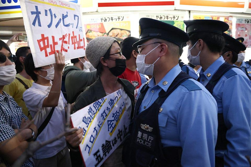 Protestors protesting against the Tokyo 2020 Olympic Games
