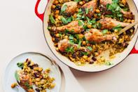 """We needed pantry-focused meals this year more than ever, and this rice-and-beans wonder was an easy, satisfying favorite. <a href=""""https://www.epicurious.com/recipes/food/views/one-pan-chicken-drumsticks-with-rice-and-beans?mbid=synd_yahoo_rss"""" rel=""""nofollow noopener"""" target=""""_blank"""" data-ylk=""""slk:See recipe."""" class=""""link rapid-noclick-resp"""">See recipe.</a>"""