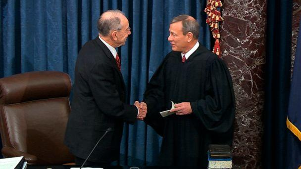 PHOTO:In this image from video, President Pro Tempore of the Senate Sen. Chuck Grassley, R-Iowa., greets Supreme Court Chief Justice John Roberts as the presiding officer for the impeachment trial of President Donald Trump in the Senate, Jan. 16, 2020. (Senate Television via AP)