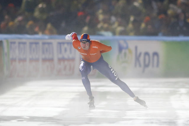 Sven Kramer of The Netherlands competes during the men's 5,000 meters race at the World Championships Speedskating Allround at the Olympic stadium in Amsterdam, Netherlands, Saturday, March 10, 2018. (AP Photo/Peter Dejong)