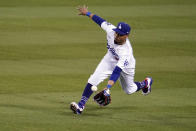 Los Angeles Dodgers right fielder Mookie Betts catches a line drive hit by Seattle Mariners' Kyle Lewis during the sixth inning of a baseball game Wednesday, May 12, 2021, in Los Angeles. (AP Photo/Marcio Jose Sanchez)