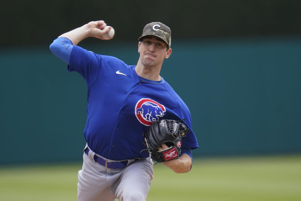 Chicago Cubs pitcher Kyle Hendricks throws against the Detroit Tigers in the first inning of a baseball game in Detroit, Sunday, May 16, 2021. (AP Photo/Paul Sancya)