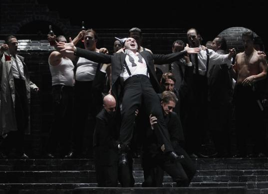 Singer Stephane Degout (C) performs on stage during a dress rehearsal of Ambroise Thomas' opera 'Hamlet' at Theater an der Wien in Vienna, April 20, 2012.