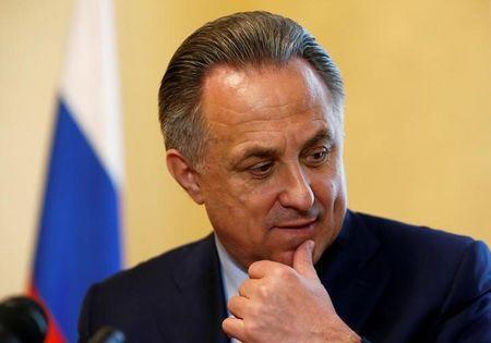 Russian Sports Minister Vitaly Mutko reacts during an interview in Moscow, Russia, May 24, 2016. REUTERS/Sergei Karpukhin/File Photo