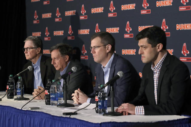 From left, Boston Red Sox owner John Henry, chairman Tom Werner, CEO Sam Kennedy and Chief Baseball Officer Chaim Bloom participate in a baseball news conference at Fenway Park, Wednesday, Jan. 15, 2020, in Boston. The Red Sox have parted ways with manager Alex Cora, with the move coming one day after baseball Commissioner Rob Manfred named him as a ringleader with Houston in the sport's sign-stealing scandal. (AP Photo/Elise Amendola)