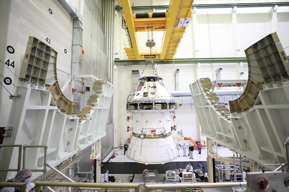 This is the first Orion spacecraft that will fly to the moon, sitting in the Neil Armstrong Operations and Checkout facility at NASA's Kennedy Space Center. This craft will fly as part of NASA'a Artemis program, which aims to return humans to the lunar surface in 2024.