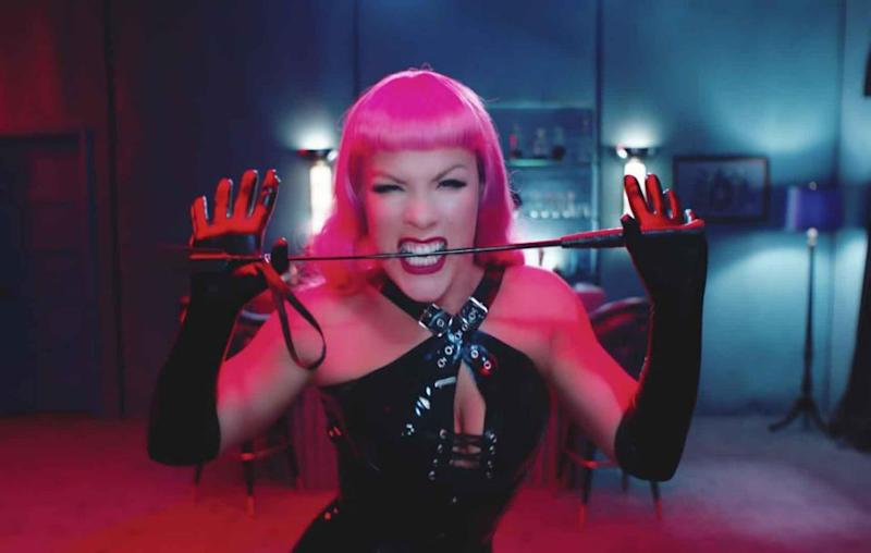 Lucky Pink got to be Channing's dominatrix. Source: YouTube / Vevo