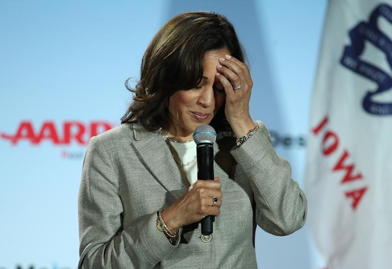 Sen. Kamala Harris pauses during a speech at the AARP and Des Moines Register Iowa Presidential Candidate Forum in Bettendorf, Iowa, last month.(Photo by Justin Sullivan/Getty Images)
