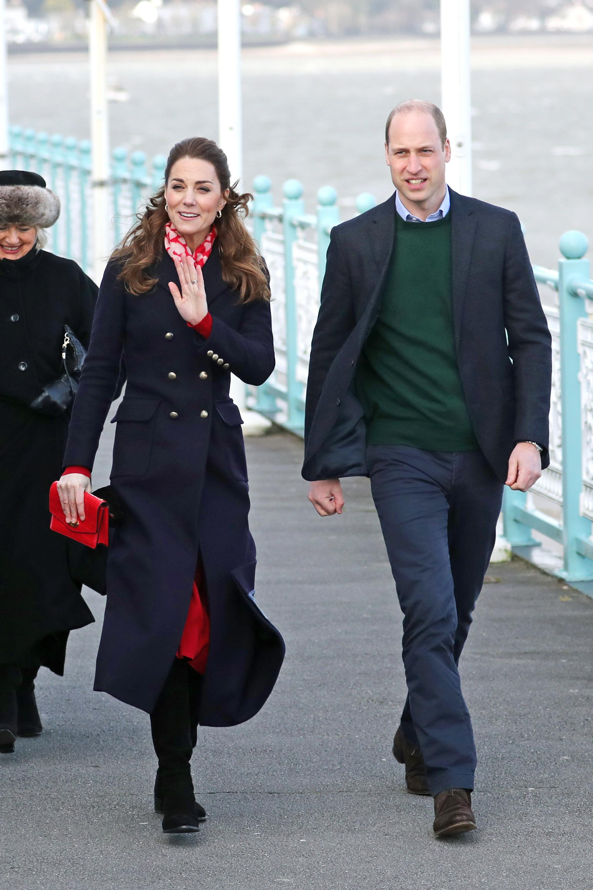 The Duchess of Cambridge wore a Hobbs military-inspired coat for the day in Wales. [Photo: Getty]
