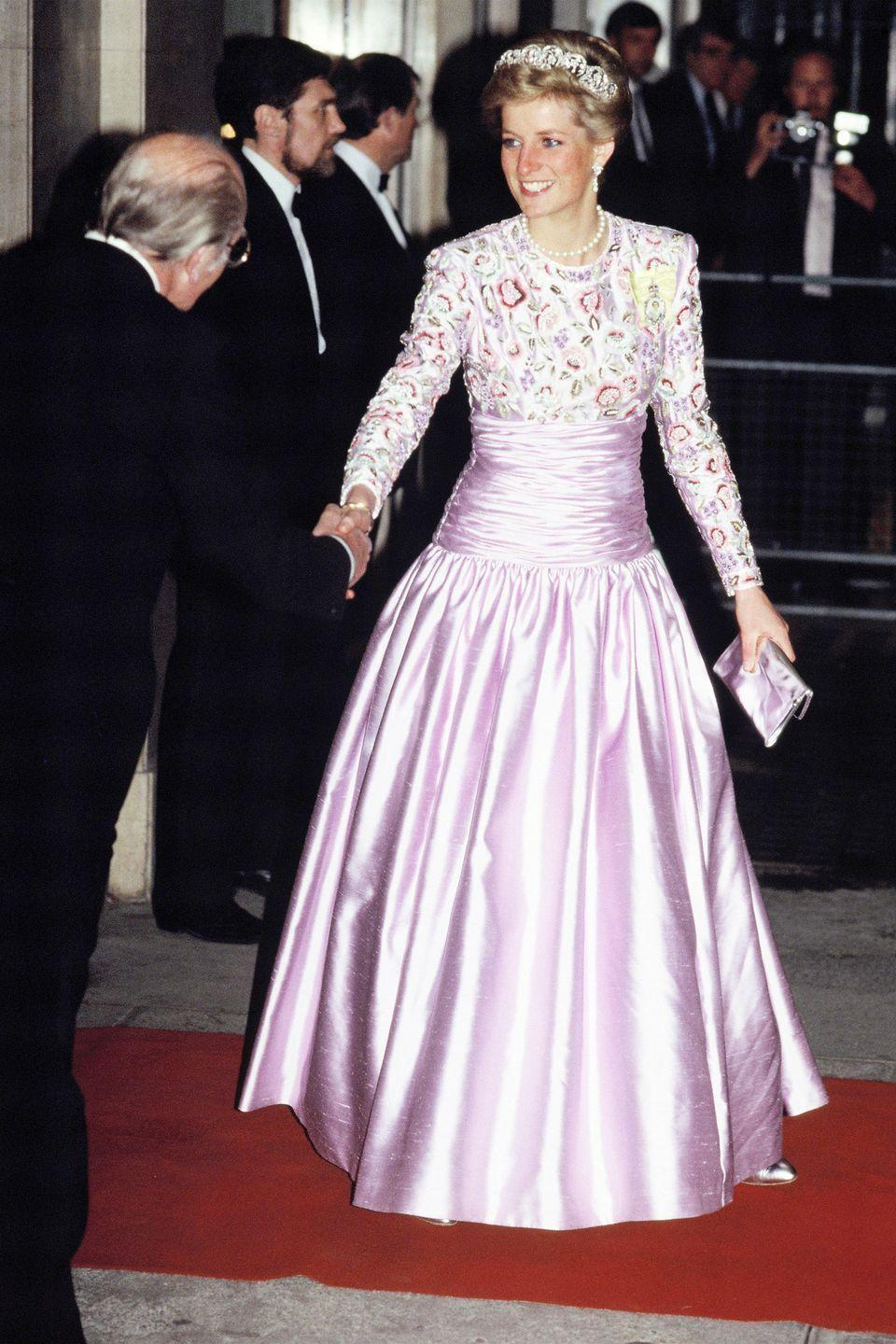 <p>In a light purple dress by Catherine Walker at an event at Claridges in London. </p>