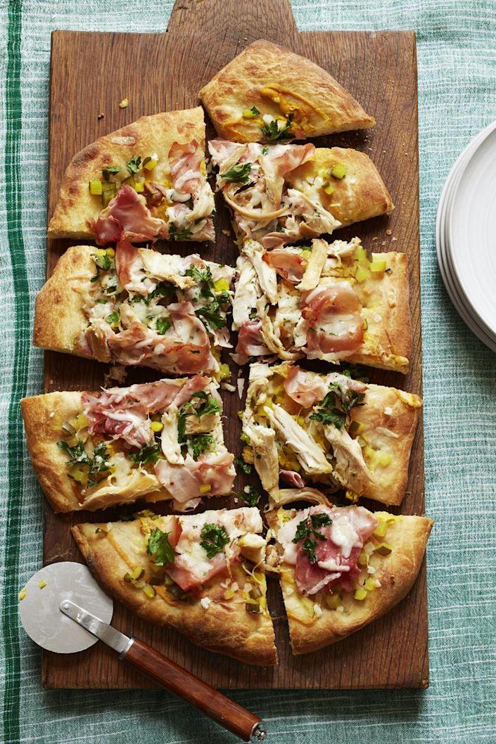"""<p>If you can't find the called-for Gruyere, try another Swiss-style cheese such as Gouda, Emmental, or fontina for that same creamy taste and melt.</p><p><a href=""""https://www.womansday.com/food-recipes/food-drinks/recipes/a56182/pizza-cubano-recipe/"""" rel=""""nofollow noopener"""" target=""""_blank"""" data-ylk=""""slk:Get the Pizza Cubano recipe."""" class=""""link rapid-noclick-resp""""><em>Get the Pizza Cubano recipe.</em></a></p>"""