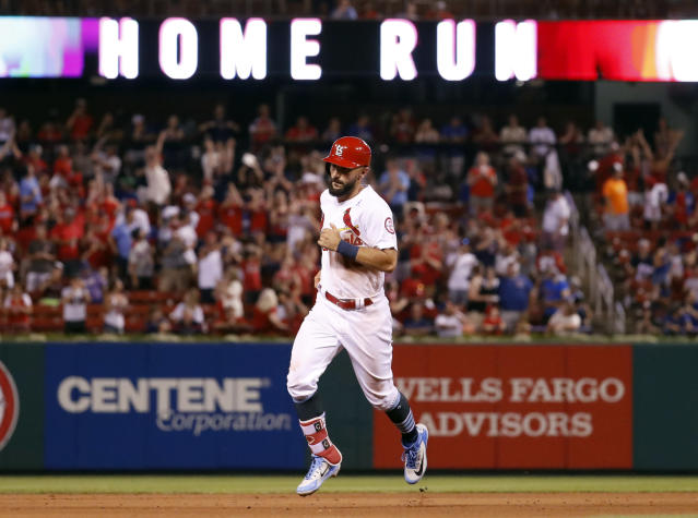 St. Louis Cardinals' Matt Carpenter rounds the bases after hitting a solo home run during the seventh inning of a baseball game against the Chicago Cubs, Sunday, June 17, 2018, in St. Louis. (AP Photo/Jeff Roberson)