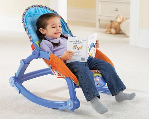 <b>Newborn to Toddler Rocker by Fisher Price</b><br><br>The Newborn to Toddler Rocker starts as a newborn seat to rocker with a low-profile position that parents feel is a safe place to put baby. A removable toy bar arm provides two hard toys to entertain baby. As baby becomes a toddler, you can remove the toy arm and the rocker supports extend to a higher position, allowing toddlers to have both a stationary seat and a rocker. Suggested price $69.99, recommended age birth to 11 months.