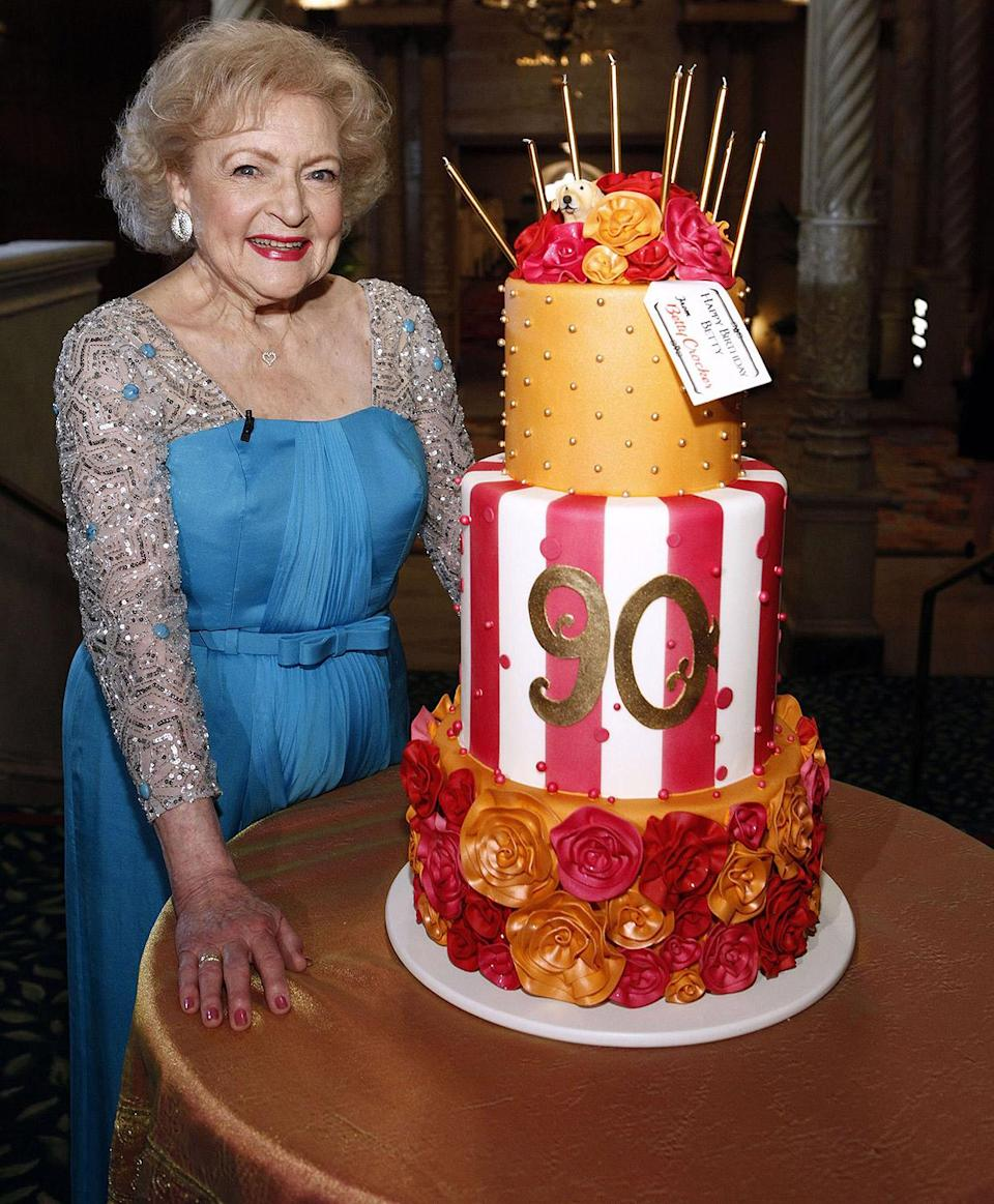 "<p>In 2012, White got a celebration for her 90th birthday befitting of a legend. NBC aired a 90-minute tribute entitled <em>Betty White's Birthday: </em><em>A Tribute to America's Golden Girl, </em>with star-studded tributes to the legend. She even got a <a href=""https://www.politico.com/video/2012/01/president-obama-wishes-betty-white-a-happy-birthday-013288"" rel=""nofollow noopener"" target=""_blank"" data-ylk=""slk:message from President Barack Obama"" class=""link rapid-noclick-resp"">message from President Barack Obama</a>! </p>"