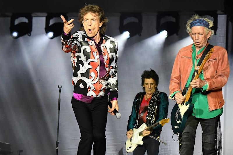 (L/R): British musicians Mick Jagger, Ronnie Wood and Keith Richards of The Rolling Stones perform a concert at The Velodrome Stadium in Marseille on June 26, 2018, as part of their 'No Filter' tour (Photo by Boris HORVAT / AFP) (Photo credit should read BORIS HORVAT/AFP/Getty Images)