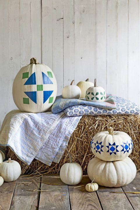 """<p>Take the guesswork out of these rustic gourds with a simple <a href=""""http://clv.h-cdn.co/assets/downloads/1472485017_-_pumpkintemplates.pdf"""" rel=""""nofollow noopener"""" target=""""_blank"""" data-ylk=""""slk:printable"""" class=""""link rapid-noclick-resp"""">printable</a> — just print, tape, and paint. </p>"""